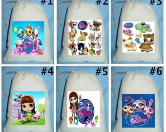 12 Littlest Pet Shop Birthday Party Favor Candy Loot Treat Drawstring Bags