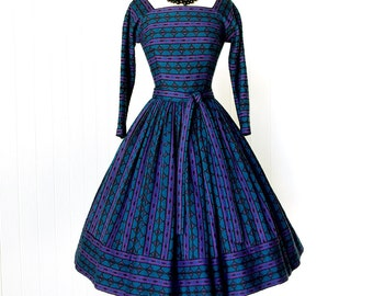 vintage 1950's dress ...fabulous dior inspired SUZY PERETTE new york knit full skirt sweater girl pin-up party dress