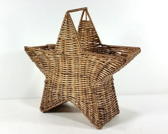 Vintage Wicker and Wire Star Basket - Large Gold Star Basket