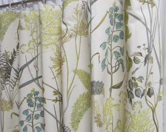 """Neutral Window Curtains, Botanical Inspired Drapery Panels, Neutral Floral Curtains, Leaf Print Drapes, Custom Rod Pocket, One Pair 50""""W"""