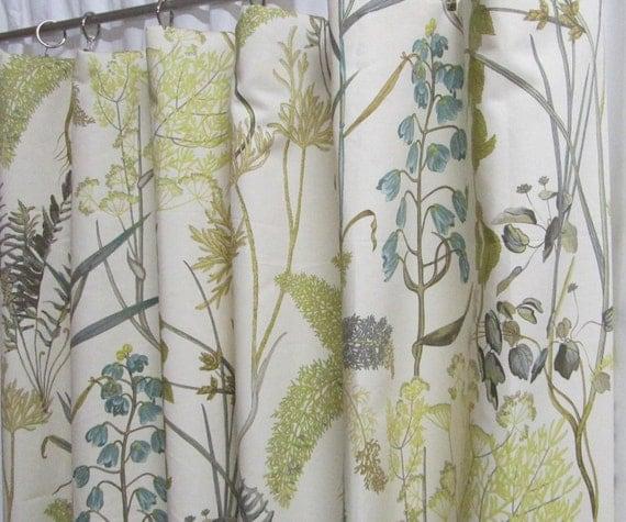 Items Similar To Neutral Window Curtains, Botanical