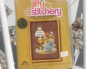 Lamp Lace and Flowers Crewel Embroidery Kit Vintage Jiffy Stitchery by Sunset Designs