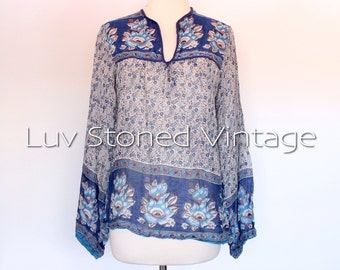 70s Vintage Indian India Emporium Sheer Cotton Gypsy Gauze Festival Boho Hippie Blouse Top Shirt | XS - SM | 1050.7.30.15