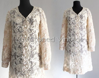 60s Vintage Carlye Cream Lace Nude Illusion Mod Wedding Bridal Tea Length Prom Dress | Medium | hanger | 1059.8.1.15
