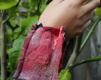 Nuno Felted Collage Cuff Bracelet Burgundy Rose Green Ultra Fine Merino and Upcycled Silk Gift for Her Cuff-012