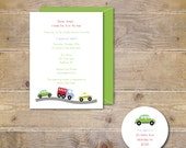 Baby Boy Shower Invitations, Car Shower Invitations, Baby Shower Truck Theme, Car Theme, Race Cards, Baby Shower Invites, Baby Boy, Green