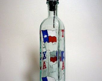 Olive Oil Bottle Hand painted Texas Lone Star State Recycled Glass