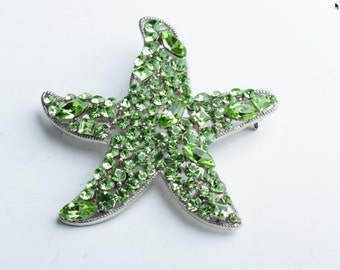 Star Fish Crystal Brooch , With Pin Back  G391