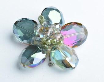 Crystal Cluster Brooch Floral deisgn G347-2