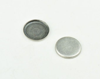 Bezel setting 12mm Classic Silver Round Bezel, approx 1.25mm recessed 13197