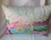 Patchwork Pillow Lace Trim Decorative Pillow in Amy Butler Fabrics