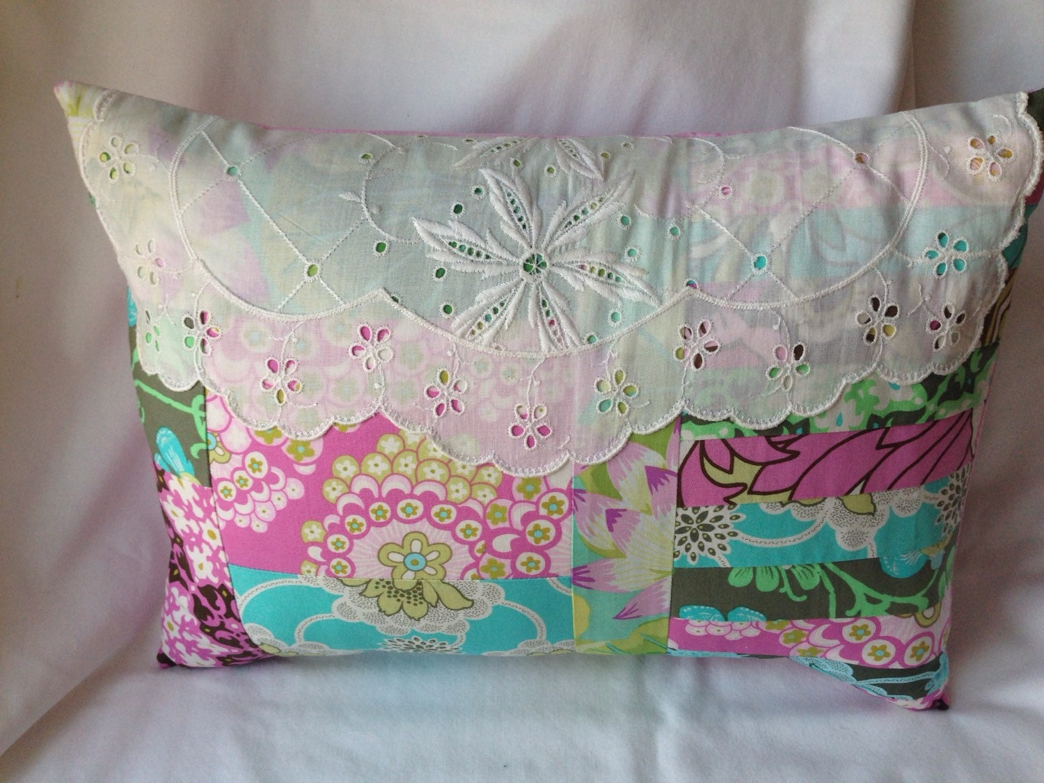 Decorative Pillow Trim : Shabby Chic Pillow Lace trim Decorative pillow in Amy Butler