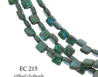 6mm 2 Hole Czech Glass Picasso Sea Green Square Tile Bead (EC 215) 25 pcs BlueEchoBeads