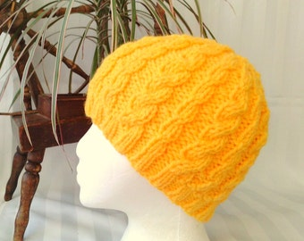 Wool/Acrylic Cable Beanie. Buttercup Yellow. Medium Yellow. Mello Yello. Rasta Yellow.  Beanies for Womens. Knit Hat. Womens Hats.
