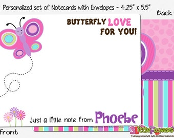 "Butterfly Note Cards - Set of Personalized Note Cards - 4.25"" x 5.5"" - Double-Sided Thank you Cards - Children Stationery - Kids Notecards"