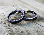 Sterling silver and 9k gold rustic circle earrings - New Direction -