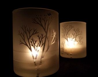 2 Frosted Votive Holders Engraved 'Tree Branch' Glass Candle Holder Woodland Home Decor Winter Wedding