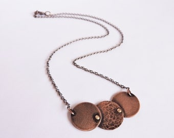Triple Copper Disc Necklace