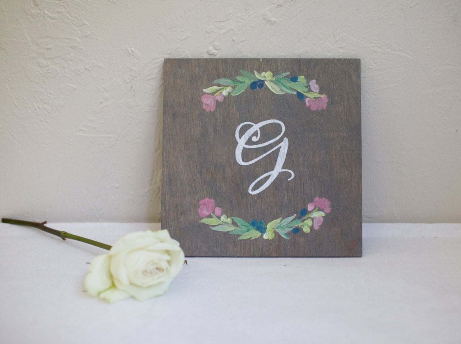 Tulips Monogram handpainted on Stained Plywood. Floral garland. Custom Bridesmaid Gift. Personalized. Wedding. Housewarming. Anniversary
