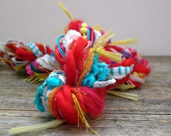 clown shoes fringe effects™  specialty fibers embellishment circus bright colors novelty art yarn bundle 21yds . turquoise red yellow white