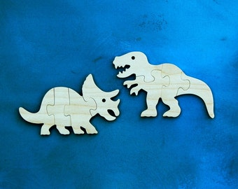 Dinosaur Puzzles - Childrens Puzzle - Dinosaur Party favor - Wood Puzzle for Kids - T Rex Puzzle - Triceratops Puzzle - Dinosaur - Set of 2
