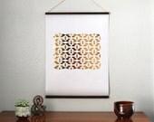 "18x24"" Gold Foil Self Hung Wall Print - Aztec // Balsa Wood Hung Gold Foil Aztec Print Poster // Rustically Weathered Gold Wall Art"
