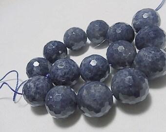 Blue Sapphire Gemstone. Faceted Round Precious Gemstone  Bead. 15-16mm...  40 KARATS... Precious Gemstone. Sold Individually.  (75sap2)
