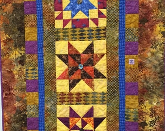 Three Sisters hand quilted art quilt