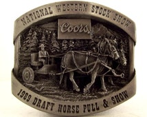 1989 National Western Stock Show Coors Draft Horse Pull Harness Racing belt buckle western wear