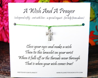 A Wish And A Prayer - Wish Bracelet With Simple Cross Charm - Shown In HERBS - Over 100 Different Colors Available