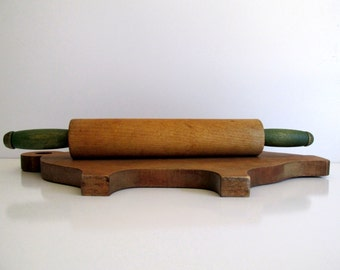Vintage Wood Rolling Pin Green Handles Faded Sage Green Handled Pastry Roller