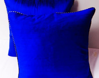 Royal Blue throw pillow 18 inch decorltive cushion covers.With gold and  blue  paiping edge. I  stock  on discount ready  to  ship.