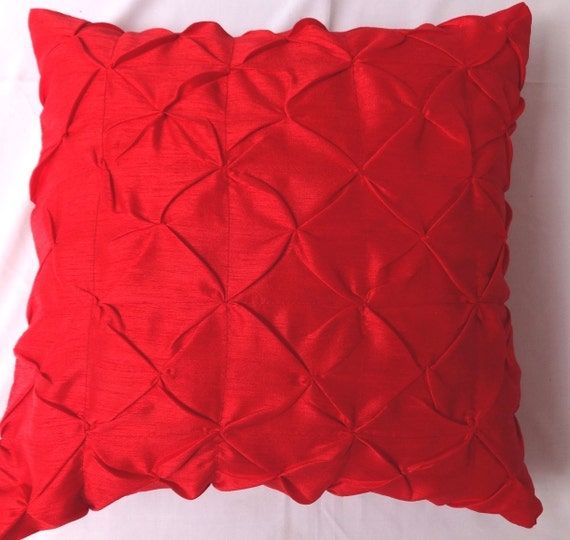 Red artsilk pintuck throw pillow cover decorative pillows.
