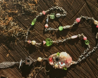 Pink and Green Spoon Assemblage Necklace