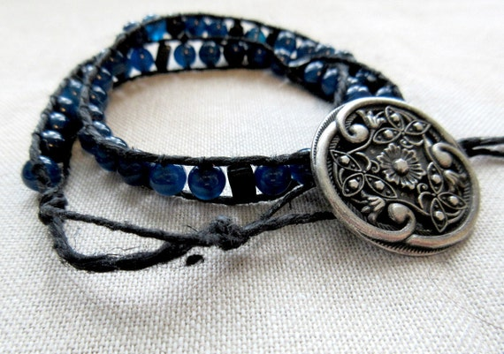 This blue black pi wrap bracelet is a great sciart mathart gift for your favorite math teacher or graduate.