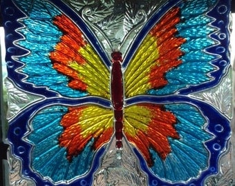"""10"""" x 10"""" Butterfly Sun Catcher """"Superfly"""" Fused Glass"""