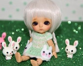 LATI WHITE - Bunny Love - Dress with Felt Pockets - Mint Green-Sparkley Ivory - Limited