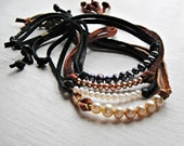 Leather Nugget Bracelet in Pearl, Assorted