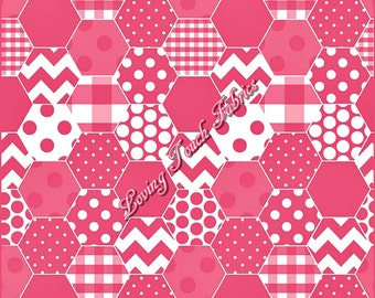 "Riley Blake ""Hexi"" #C770-70 Hot Pink Cotton Fabric 1/2 Yd 18"" x 44"""