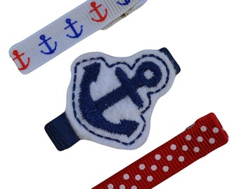 Nautical Anchor Hair Barrette Gift Set - 2 Sizes Available