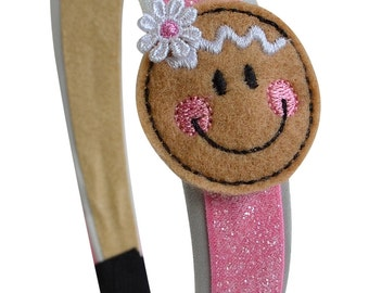 Girls Happy Gingerbread Christmas Holiday Headband - Funny Girl Designs