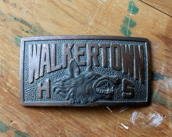 Walkertown High School Belt Buckle Fragment, Wolfpack Mascot, Vintage North Carolina Souvenir, Robbins Co. Attleboro