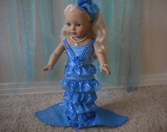 4-pc. Blue Mermaid Costume for 18 inch Dolls