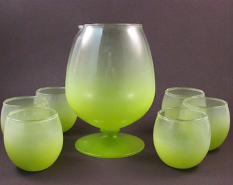Vintage Blendo Frosted Lime Green Pitcher with Pedestal Base and Six Round Roly Poly Glasses