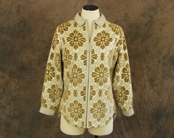 CLEARANCE vintage 60s Tapestry Coat - Gold Chenille and Leather Jacket 1960s Short Coat Sz M L