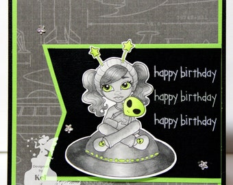 Monochrome Birthday Girl Grey Alien Space Ship Handcolored Handmade Greeting Card