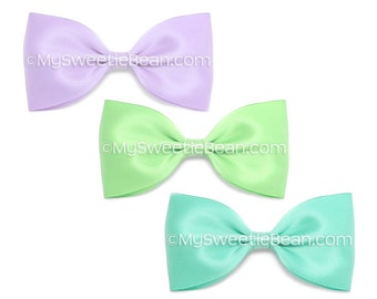 "5 Inch Satin Bow Set, Alice Bows, 5"" Classic Satin Bow for Women, Girls, Orchid, Mint, Robin's Egg Blue, Set of 3 Satin Hair Bows for Girls"