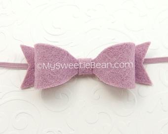 Felt Bow Headband, Skinny Elastic Headband, Newborn Baby Headband 85 colors, Felt Headband for Babies, Thistle, Orchid Purple, Pastel