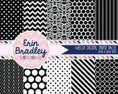 Black Digital Paper Pack Polka Dots Damask Chevron and Striped Background Patterns Digital Scrapbooking