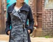 Alpaca asymmetrical women's statement coat • Mist Alpaca & dark gray Italian virgin merino boiled wool • two tone Cowl collar coat